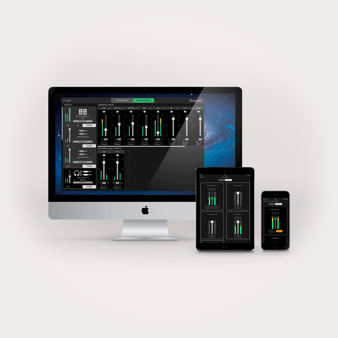 Focusrite Control shown on multiple devices